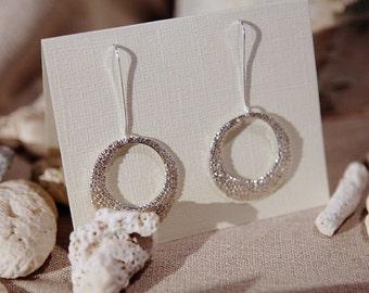 Circle Dew Drop Dangle Earrings