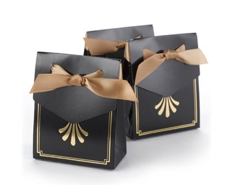 Art Deco Wedding Black Favor Boxes, Gold Metallic Foil Design Elements