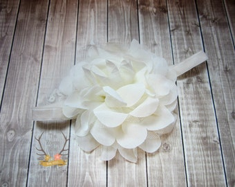 Ivory Large Flower Headband - Flower Girl Newborn Baby Infant Toddler - Wedding Lace Chiffon Flower - off white Over the Top Huge