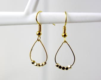 Pearl charm - gold-plated earrings A25