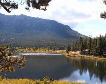 Mountain and Lake Scene Photo