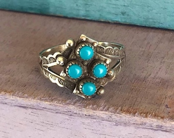 Size 7 Navajo Sleeping Beauty Turquoise Sterling Silver Native American Indian Ring 3g