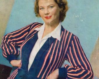 Vintage Women's Knitting Pattern - striped jacket or cardigan - 40s 50s - instant download PDF - knitting patterns for women Ladies sweater