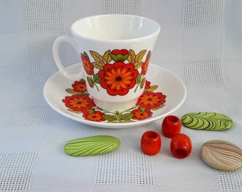 Royal Grafton ''Flower Power'' Teacup and Saucer Set, Made in England