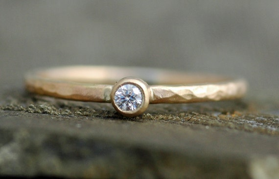 White Diamond on Skinny Solid Recycled 14k Gold Stacking Engagement Ring- White or Yellow Gold Skinny Band Made to Order
