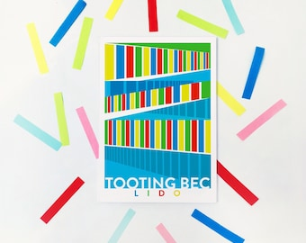 Tooting Bec Lido Illustrated Art Print - Matte & Giclee Art Prints in A3 or A2 sizes.  Gifts for Swimmers - Housewarming Prints of London