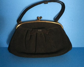 L & M; Spot Lite Purse; Vintage Black Gabardine; Made in U.S.A.; Very Clean Inside and Outside