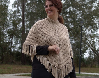 Knitted Ladies Poncho in Beige
