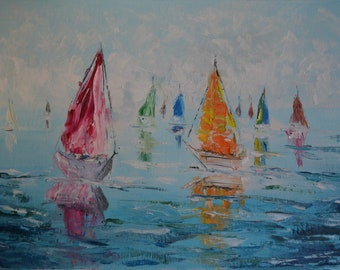 Original  Oil Painting Regatta Boats Yachts Landscape oil on canvas gift wall decor artwork
