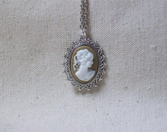 Taupe cameo necklace,Silhouette lady cameo,Cameo jewelry,Sister,Daughter,Wife,Girlfriend,Graduation