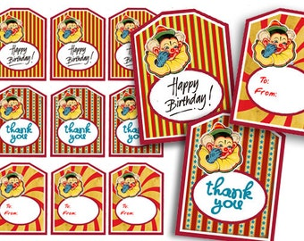 Circus Party Tags, Digital Clown Thank You Tags, To-From Tags, Happy Birthday Tag, Carnival Tags, Instant Download, DIY Printable Party Tags
