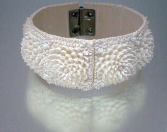 Celluloid Carved Molded Clamper Bracelet Flowers Mums Off White Vintage