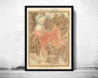 Old Map of Rome Italy 1910