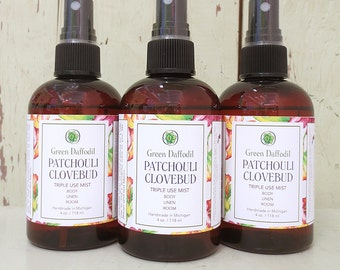 Patchouli Clovebud Room Spray Mist - Green Daffodil - VEGAN - 4oz. - RM