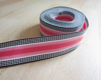 Grosgrain Ribbon 7/8 inch Stripes in Black and Pinks.  Black Licorice Stripe Scrapbooking Hair Bow Ribbon.  4 yards PLUS.