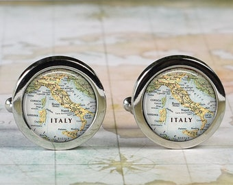 Italy cuff links, Italy map cufflinks wedding gift anniversary gift for groom gift for him groomsmen best man Father's Day gift
