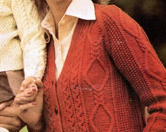 Aran Adult's V-neck Cardigan Knitting Pattern PDF / Sizes 34 to 44 inches / Cable diamond pattern cardigan / Fisherman knit