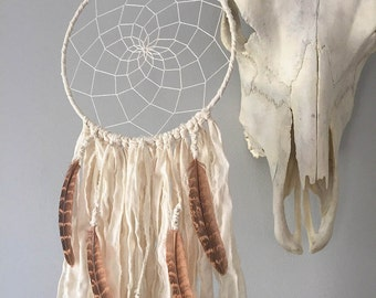 Boho Dreamcatcher - Feather Dream Catcher - Dream Catcher with Pheasant Feathers - Bohemian Wall Hanging