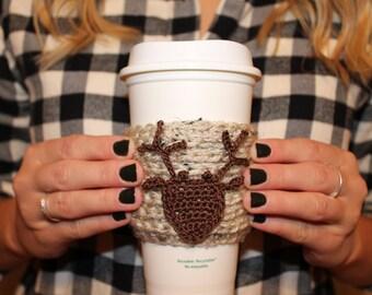 Deer Crochet Coffee Sleeve / Trendy Reusable Coffee Jacket / Fall Beverage Insulator