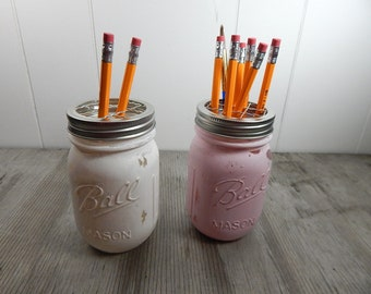 White or Pink Farmhouse Distressed Painted Mason Jar with grid