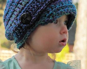 Crochet HaT Pattern: 'Marble Newsboy', Crochet Chunky Newsboy, 2 yrs - Women.