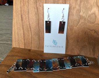Watercolor bracelet and earrings set * shrink plastic