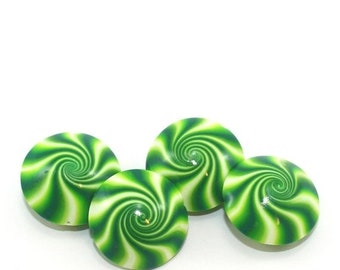 MEMORIAL DAY SALE Peppermint beads, Christmas swirl lentil beads, Handmade swirl green and white candy beads, 4 elegant Polymer clay beads f