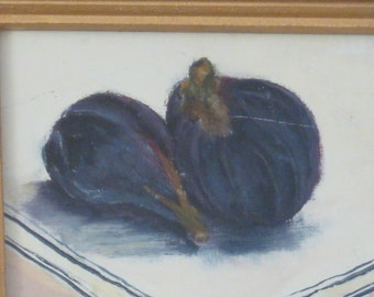 Still Life With Figs, oil painting on cardboard, framed