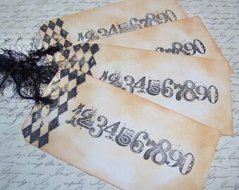 Vintage Stil Hand gestempelt Zahlen Geschenkanhänger - Set 4 Ex-Large Tags - Paris Style