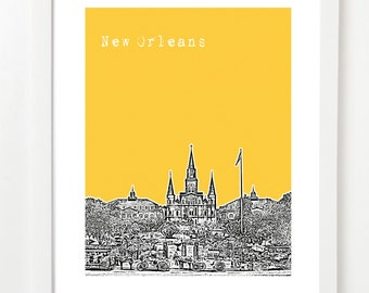 New Orleans Skyline Poster - St. Louis Cathedral - Jackson Square - Version 3