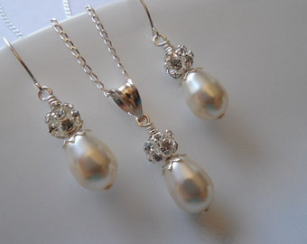 Bridal Set, Bridesmaids Gift, Rhinestone Crystal and Pearl Set, Vintage Style Bridal Set, Weddng Jewelry