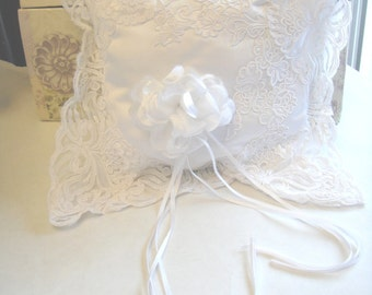 Ring Bearer Pillow, Bridal Pillow, Lace Pillow, White Pillow, Wedding Supply, (P-28)