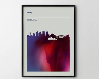 SYDNEY City Skyline Cityscape Art Print Poster Places Abstract