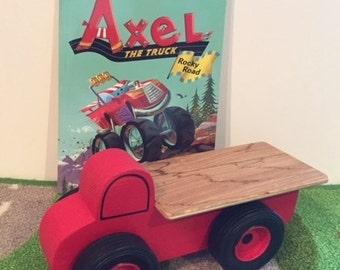 Spielzeug, rote Pritschenwagen und Axel LKW steinigen Weg Buch - handgefertigte Holzspielzeug Pritschenwagen rot LKW - meine erste kann ich lesen Buch Alex LKW
