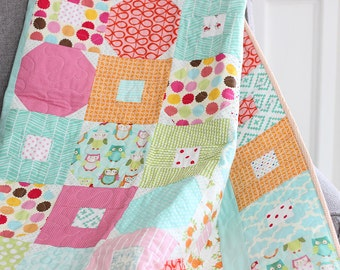 Baby and Toddler Girl Quilt in Aqua Pink Green  features Owls Flowers Polka Dots and Stripes