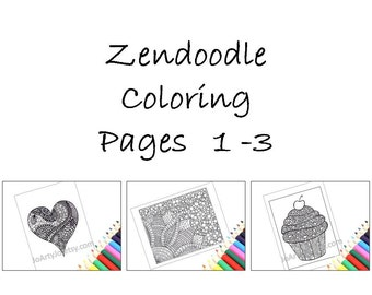 Coloring Pages, Zentangle Inspired Printable Pages 1-3: Heart, Cupcake and Flower. Instant Download.
