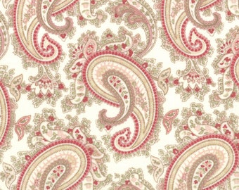 Moda Paris Flea Market Creamy White Rose Paisley Floral 3 Sister's Shabby Fabric 3730-11 BTY 1 Yd