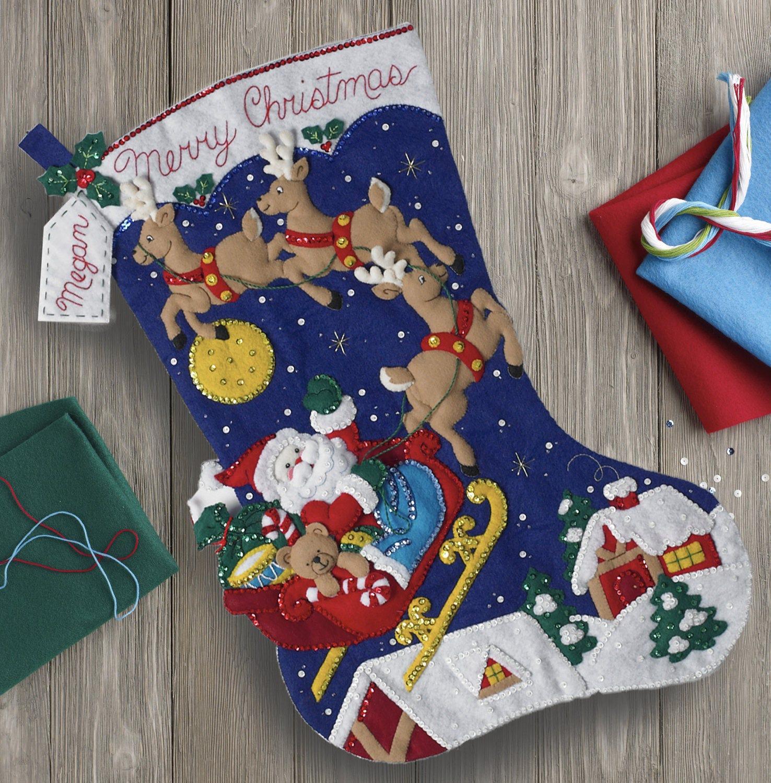 Bucilla Christmas Night JUMBO Stocking 28 Felt Applique