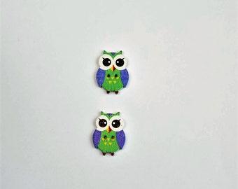 2 Wooden Buttons - Green Owl Buttons - Cute Wooden Button - Blue Button - Scrapbook Buttons, Notions, Embellishment, Craft Supplies