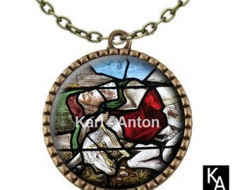 Bronze colored necklace with round pendant + chain pattern stained glass horse (670)