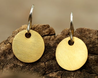 Gold plated brass discs earrings with matte finish and hangs on sterling silver hook(FBA)