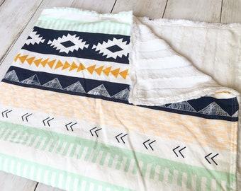Navy and Mustard Aztec Minky Blanket