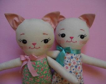 Floral Sweet Kitty Plush - Handmade Cat Plush toy ragdoll childrens stuffed toy cloth doll