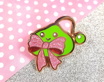 Slime with bow hard enamel rose gold plating glitter 4cm - bowtie pink cute kawaii lapel pin brooch badge flair collar pin