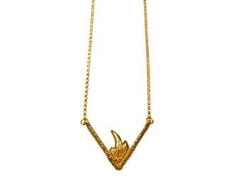 Fire Necklace, Flame Necklace, Layering Necklace, Geometric Necklace, Gold Fill Chain, Brass Pendant, Intricate Pendant, Carved Pendant