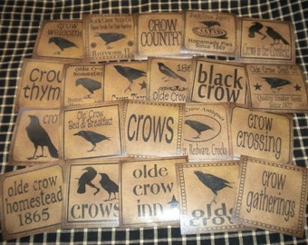 "Set of (22) 3"" Crow Prim Pantry Labels"