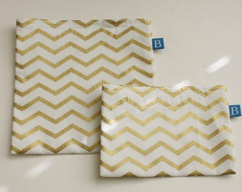 Reuseable Eco-Friendly Set of Snack and Sandwich Bags in Gold and White Chevron Fabric