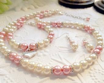 Sale!  Pearl Necklace, Bracelet, and Earring Set - Bridesmaid Gift - Shown in Pink and Blush
