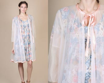 1960s Sheer Robe - Large // Vintage 60s Pastel Pink Lace Peignoir