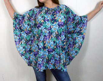Mr. Remo NOS Pleated Floral  Fan Top Blouse 70's 80's Hippie One Size